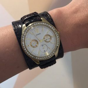 Guess Wide Strap Leather Rhinestone Watch